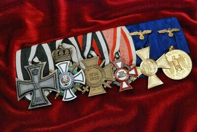 WWI/WWII GERMAN 6 PLACE MEDAL BAR AWARDED TO GENERAL DEITRICH VON SAUCKEN – 27th RECIPIENT OF OAK LEAVES, SWORDS & DIAMONDS