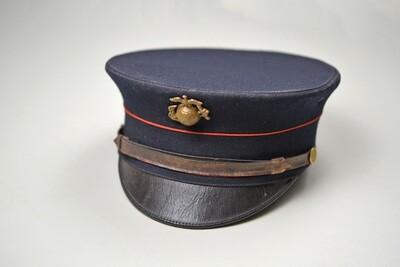 WWI U.S. MARINE CORPS PATTERN 1912 DRESS BLUES BELL CROWN VISOR HAT - EXCELLENT