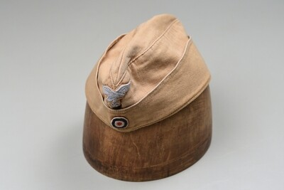 WWII GERMAN LUFTWAFFE ENLISTED TROPICAL OVERSEAS CAP - MARKED & DATED
