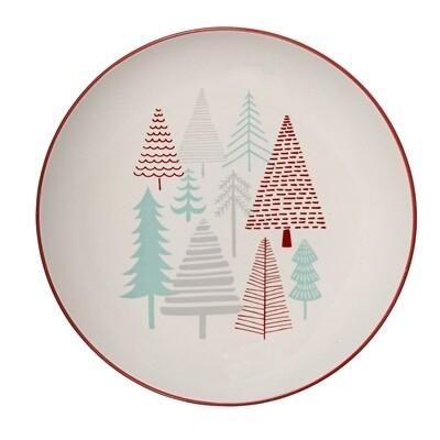 """Lėkštės """"Eglutės"""" balta, keramika, 12 vnt"""