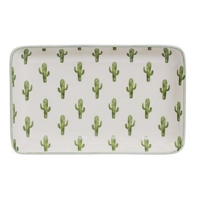 """Lėkštės """"Žali Kaktusai"""" kvadratinės, keramika, 12 vnt"""
