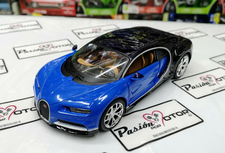 1:24 Bugatti Chiron 2016 Azul Negro Maisto Special Edition En Display / A Granel