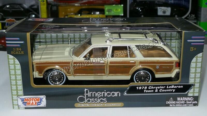 1:24 Chrysler Lebaron Town Country 1979 Beige Guayin Wagon Motor Max C caja