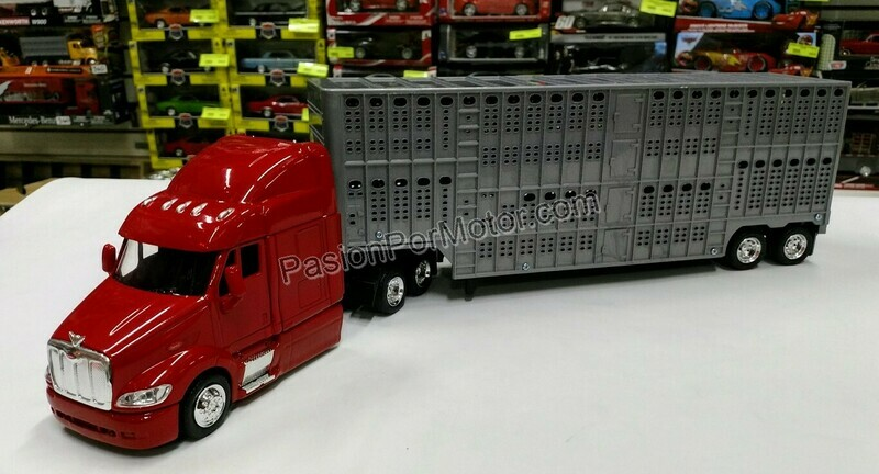 1:43 Peterbilt Model 387 Rojo C Caja Ganadera Gris Trailer New Ray