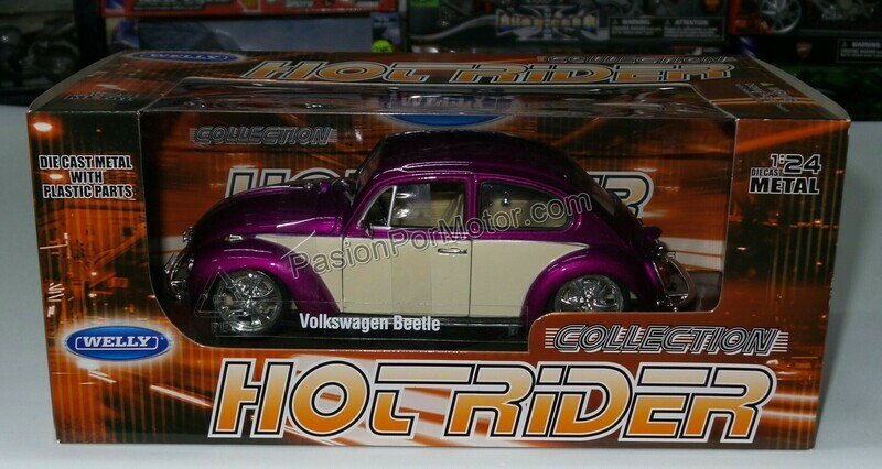 1:24 Volkswagen Beetle 1302 1972 Custom Fucsia Welly C Caja