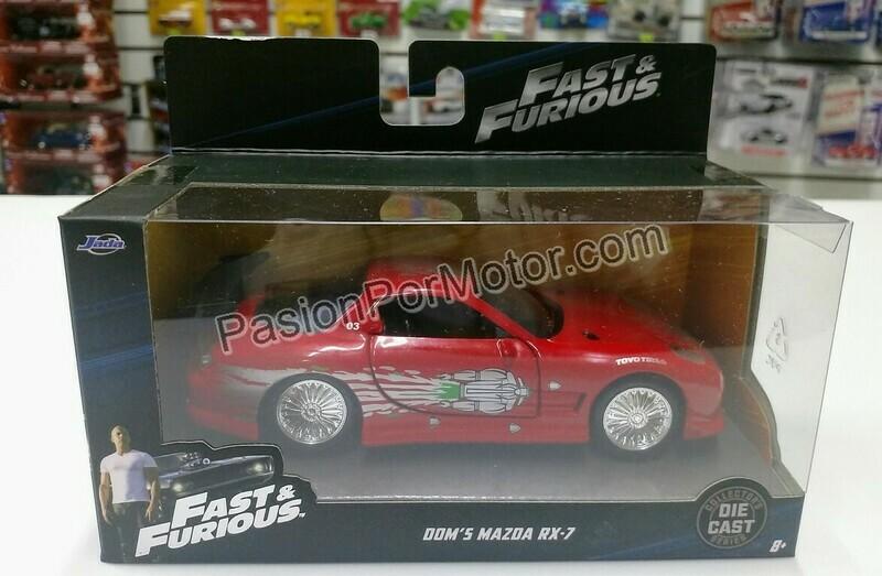 1:32 Mazda RX7 1993 Dom's Toretto Rojo  Rapido y Furioso 1 Jada Toys En Caja