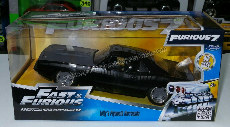 1:24 Plymouth Barracuda 1973 Negro Letty´s Rapido Y Furioso 7 Jada Toys C Caja