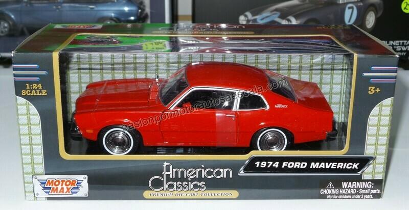 1:24 Ford Maverick Coupe 1974 Rojo Motor Max C Caja