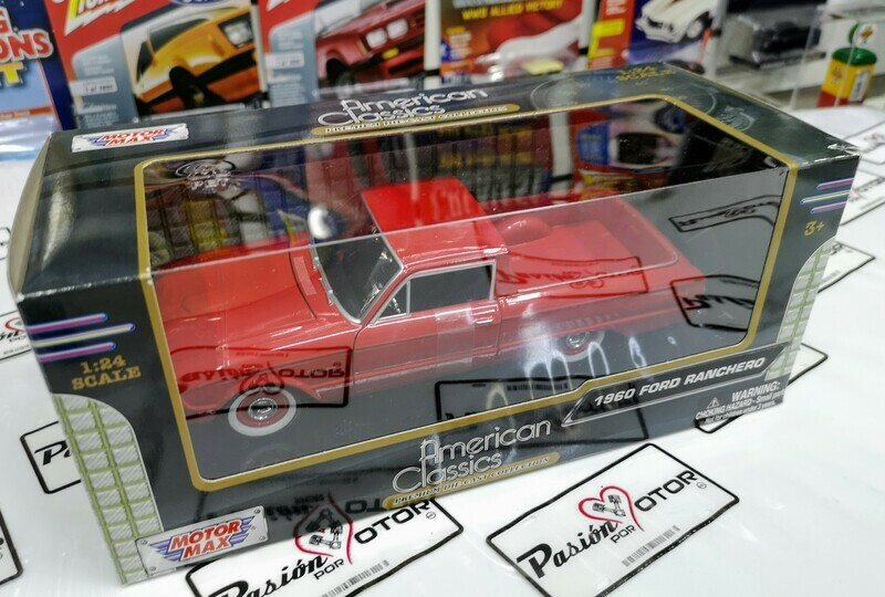 1:24 Ford Ranchero 1960 Rojo Pick Up Motor Max C Caja