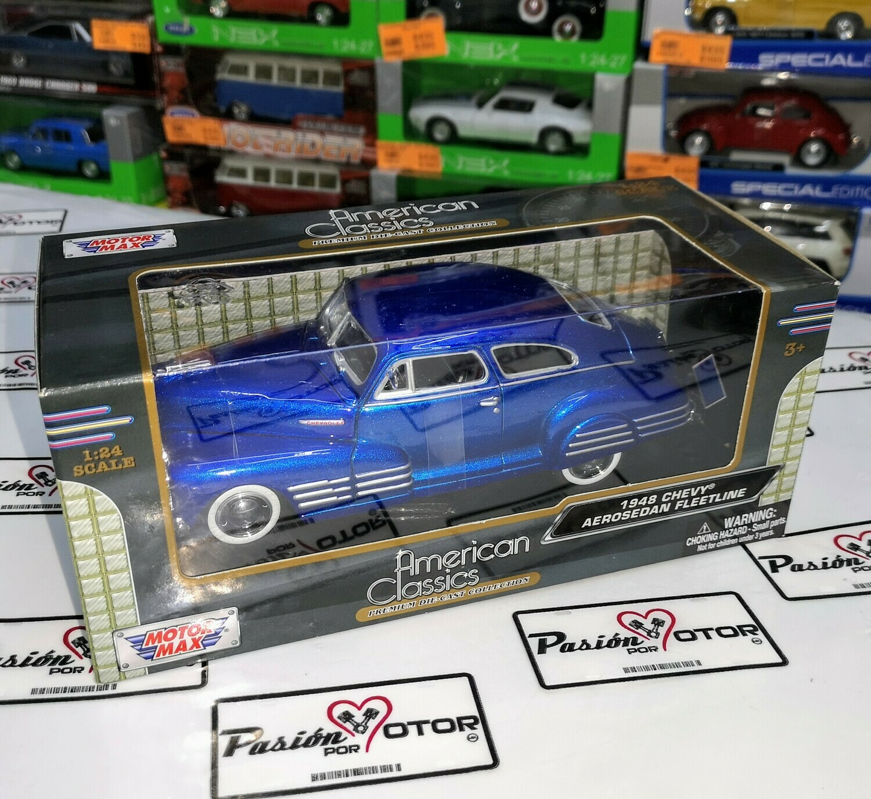 1:24 Chevrolet Aerosedan Fleetline 1948 Azul Candy Motor Max Sedaneta C Caja