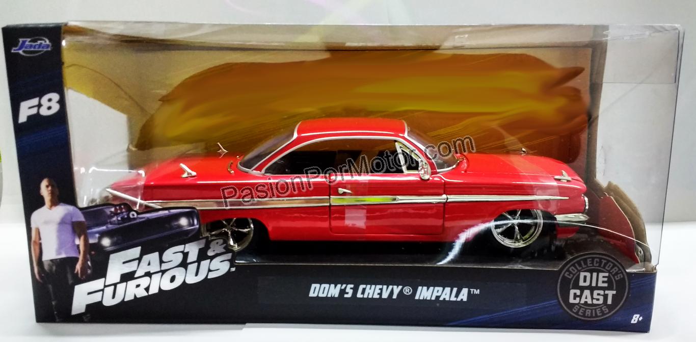 1:24 Chevrolet Impala 1961 Rojo Dom's Toretto Rapido Y Furioso 8 Jada Toys C Caja