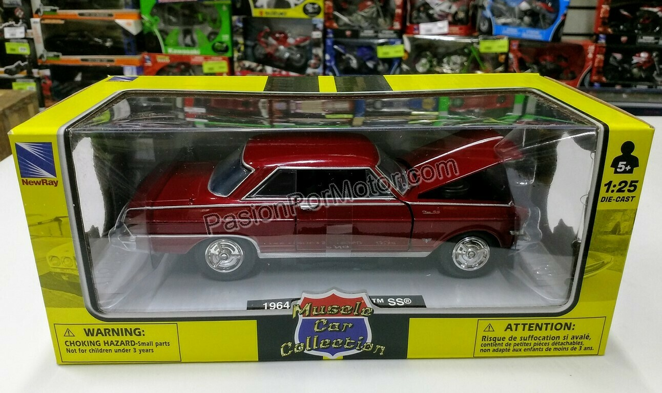 1:25 Chevrolet Nova Coupe SS 1964 Rojo New Ray Muscle Car Collection C Caja
