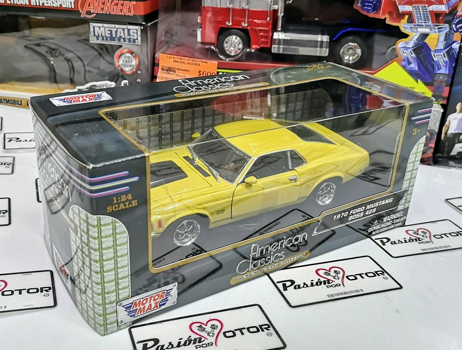 1:24 Ford Mustang Boss 1970 Amarillo Motor Max Shelby C Caja