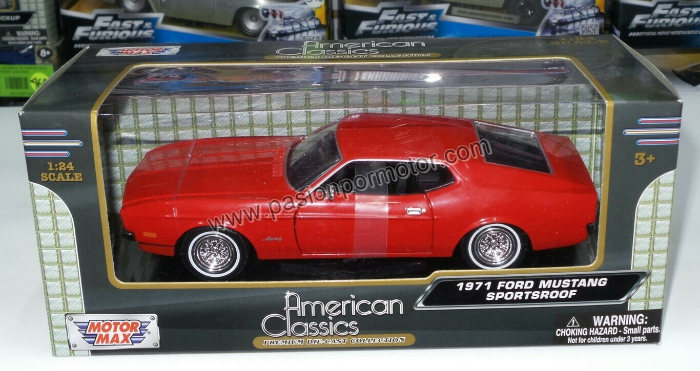 1:24 Ford Mustang Sportsroof 1971 Rojo Motor Max C Caja Mach Shelby