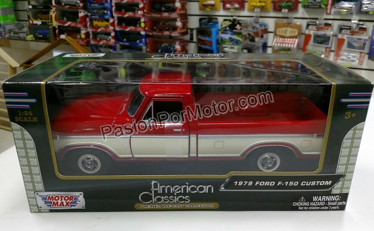 1:24 Ford F-150 Custom 1979 Pick Up Rojo C Beige Motor Max C Caja
