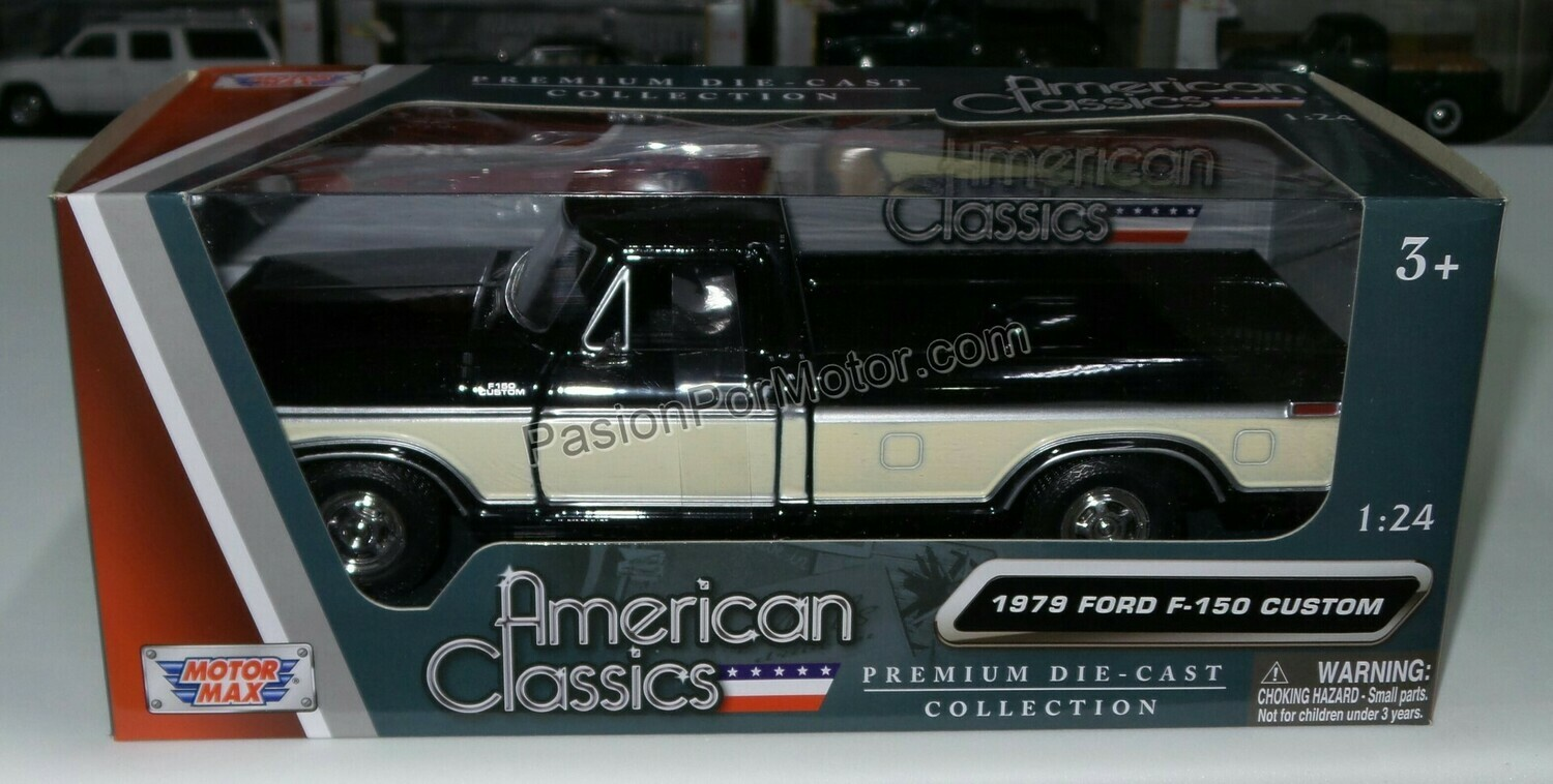 1:24 Ford F-150 Custom 1979 Pick Up Negro C Beige Motor Max C Caja