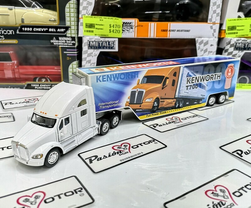 1:68 Kenworth T700 Blanco y Graficos KW C Caja Seca Panzona Trailer Kinsmart 1:64 En Display / a Granel