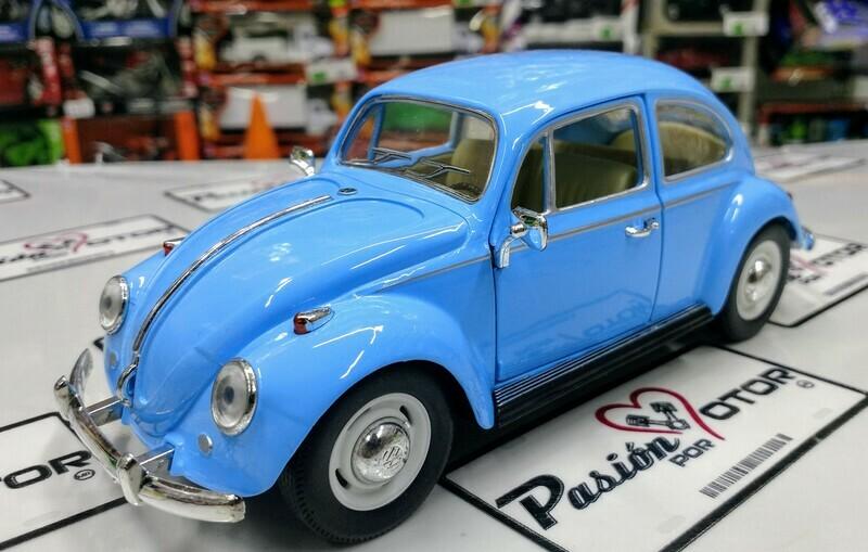 1:24 Volkswagen Beetle 1967 Azul Cielo Vocho Kinsmart En Display / A Granel
