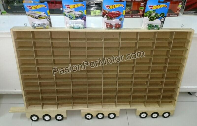 Remolque De Camion Coleccionador Repisa Para Colgar, En Madera Para 100 Pz Tipo Hot Wheels 1:64