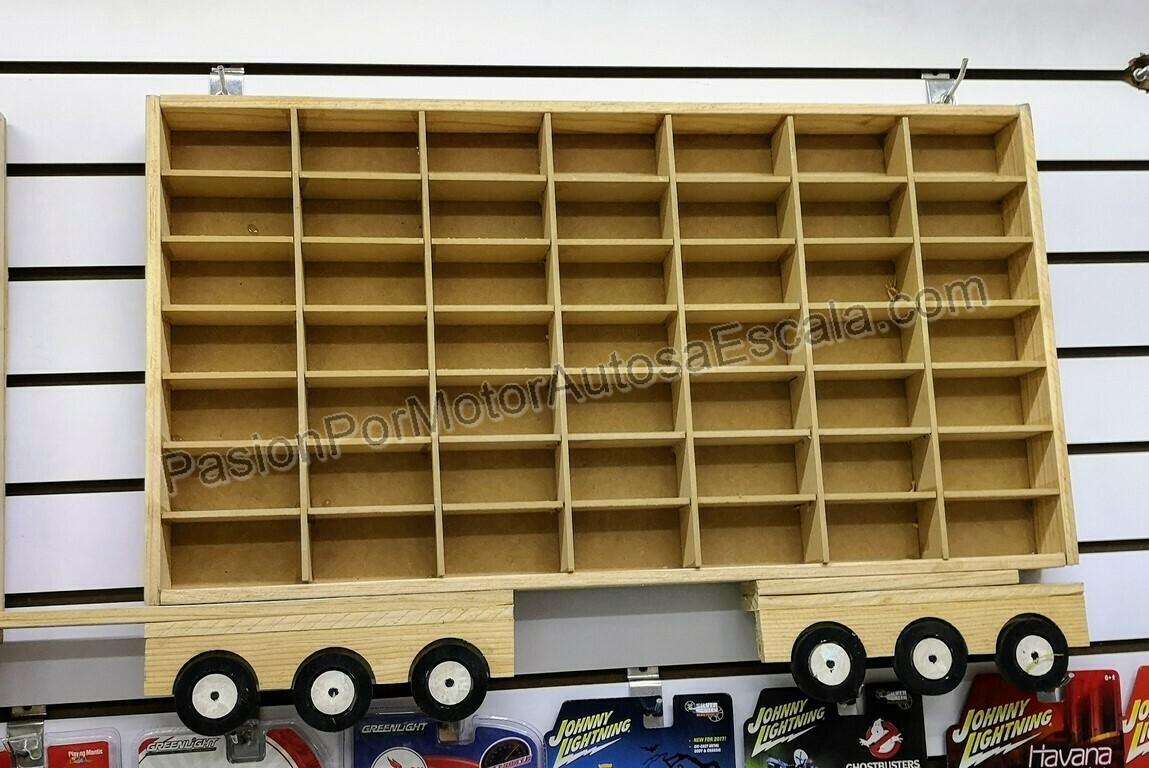 Remolque Trailer Coleccionador Repisa Para Colgar, En Madera Para 49 Pz Tipo Hot Wheels 1:64