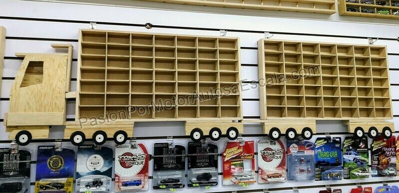 Camion Doble Remolque Full Coleccionador Repisa Para Colgar, En Madera P 98 Pz Tipo Hot Wheels 1:64