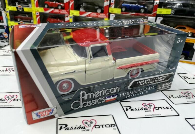 1:24 Chevrolet Apache 1958 Pick Up Beige Rojo Motor Max C Caja