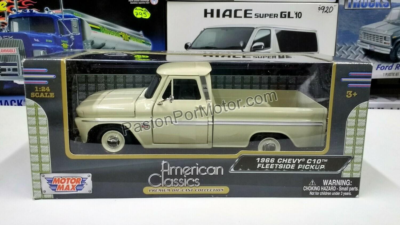 1:24 Chevrolet C10 Pick Up 1966 Beige Motor Max C Caja