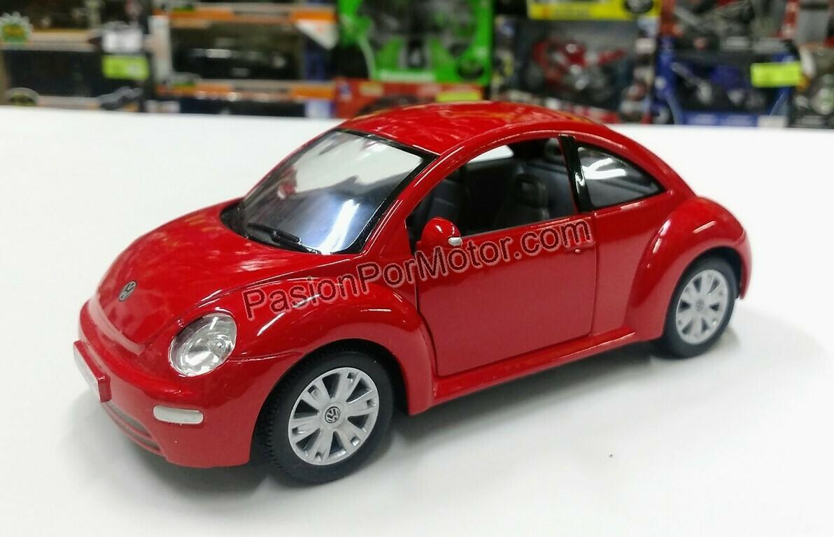 1:24 Volkswagen New Beetle 1998 Rojo Kinsmart Vocho En Display / A Granel