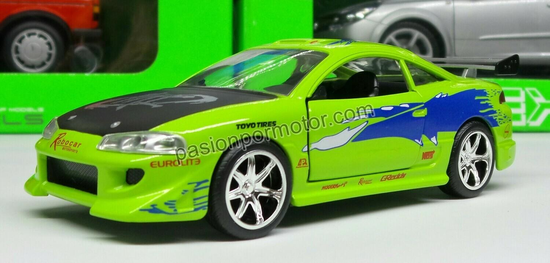 1:32 Mitsubishi Eclipse 1995 Brian's Rapido y Furioso Jada Toys En Display a Granel