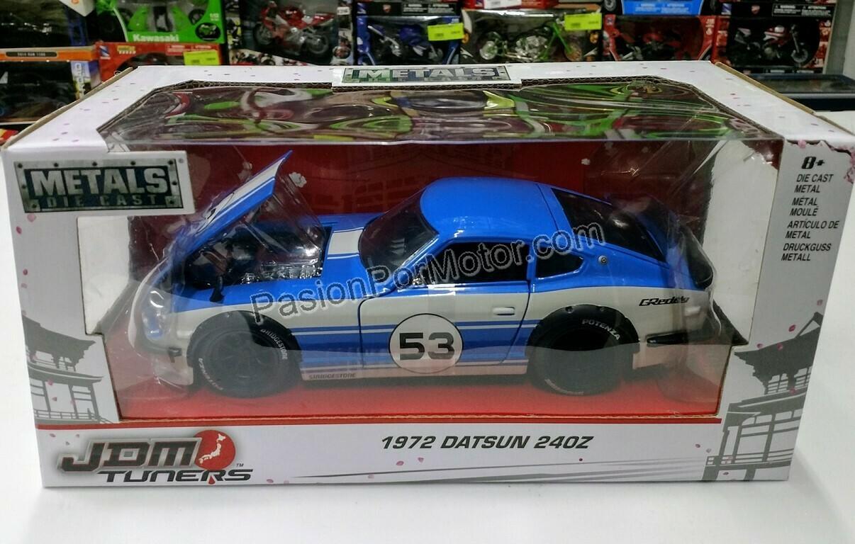 1:24 Datsun 240Z 1972 Azul C Blanco Jada Toys JDM Tuners Nissan C Caja
