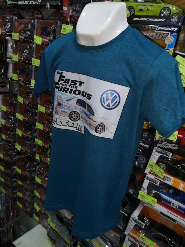 Playera Estampada Azul Rapido y Furioso Volkswagen Jetta III Jesse Talla Mediana