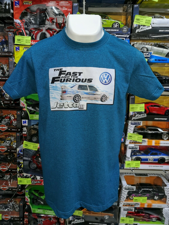 Playera Estampada Azul Rapido y Furioso Volkswagen Jetta III Jesse Talla Chica
