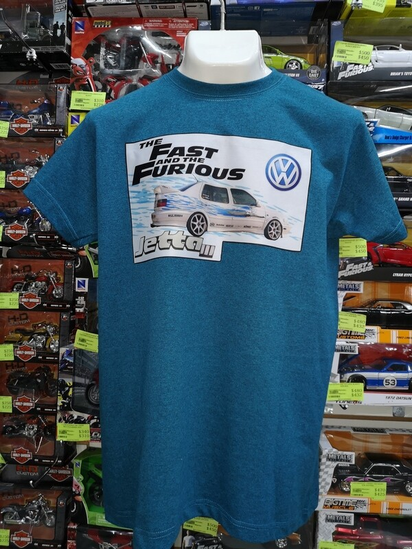 Playera Estampada Azul Rapido y Furioso Volkswagen Jetta III Jesse Talla Grande
