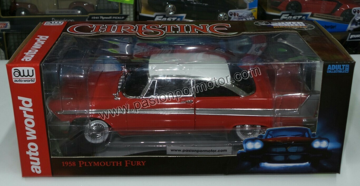 1:18 Plymouth Fury Rojo 1958 Christine Black Windows Auto World Stephen King