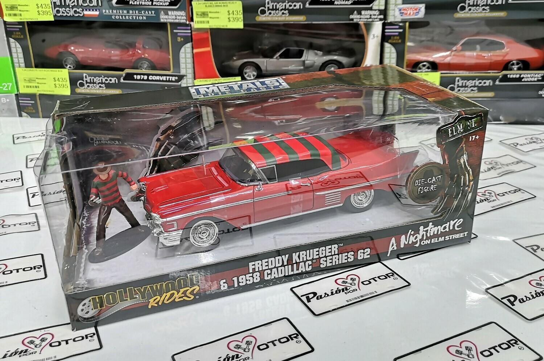 1:24 Cadillac Series 62 1958 & Freddy Krueger A Night Mare On Elm Street Jada Toys Metals Hollywood Rides Pesadilla en La Calle del Infierno