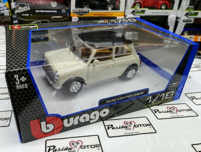 1:16 Mini Copper 1969 Blanco Bburago 1:18