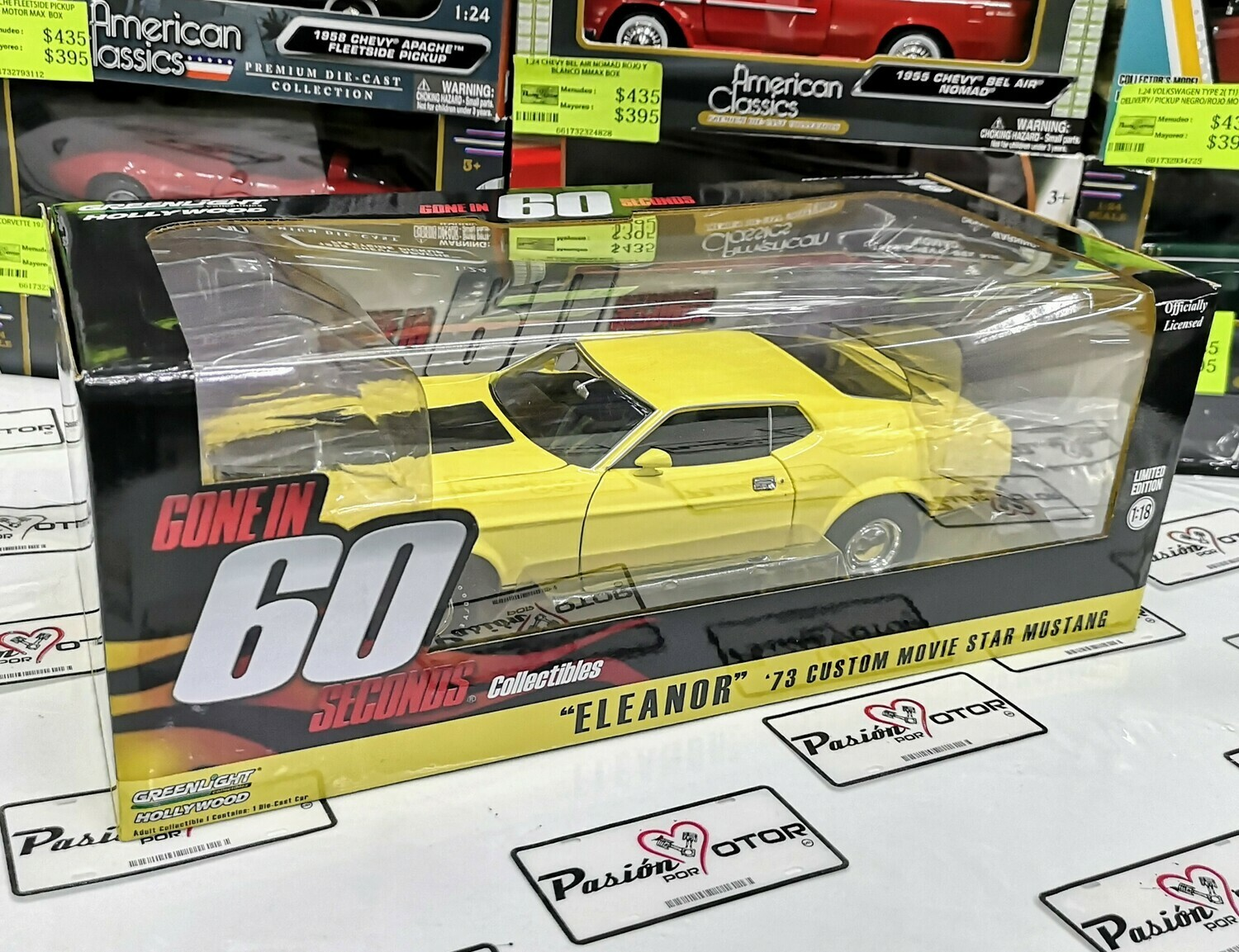 1:18 Ford Mustang 1973 Custom Amarillo Eleanor Gone In 60 Seconds Greenlight 60 Segundos Shelby