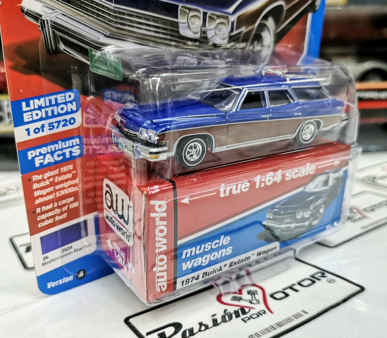 1:64 Buick Estate Wagon 1974 Azul Auto World Premium Series Guayin