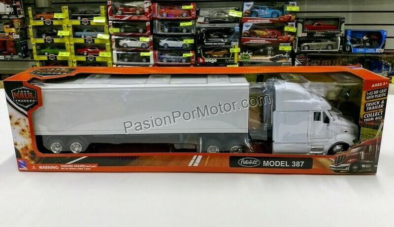 1:43 Peterbilt Model 387 1999 C Caja Seca Blanco Liso Trailer New Ray