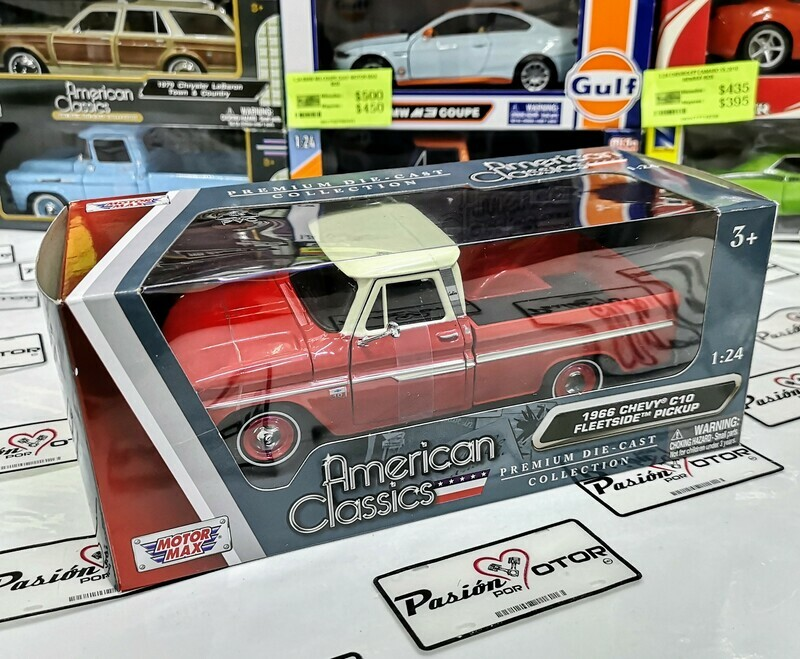 1:24 Chevrolet C10 Fleetside Pick Up 1966 Rojo y Beige Motor Max C Caja