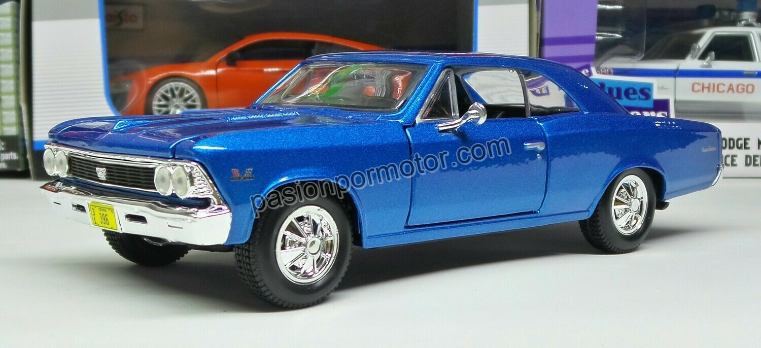 Maisto 1:24 Chevrolet Chevelle SS 396 Coupe 1966 Azul Special Edition Display a Granel