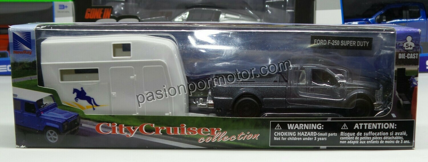 1:43 Ford F-250 Super Duty Gris Con Remolque P Caballos New Ray