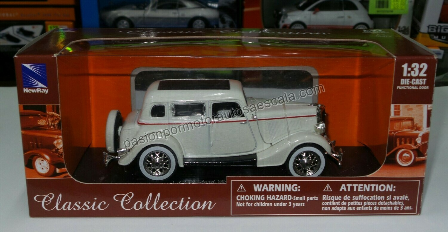 1:32 Ford Deluxe Four Door 1934 Blanco Carcacha New Ray