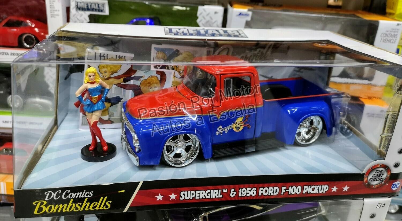 1:24 Ford F100 Pick Up 1956 & Super Girl Jada Toys Bombshells DC Comics En Caja