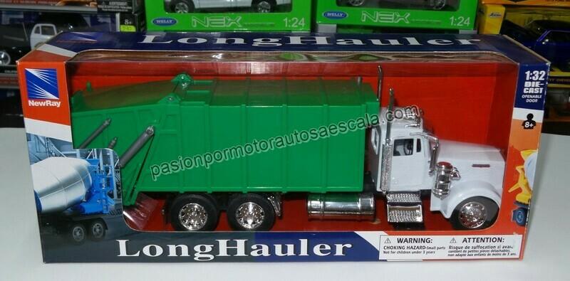 1:32 Kenworth W900 1979 Blanco y Verde Torton Recolector de Basura New Ray
