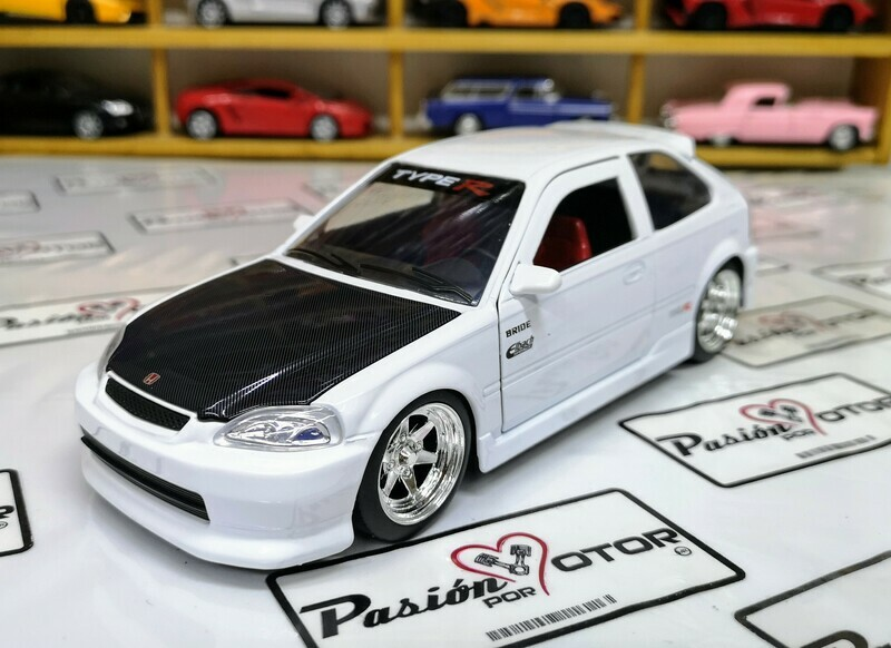 1:24 Honda Civic Type R 1997 Blanco Jada Toys Metals JDM Tuners En Display A Granel