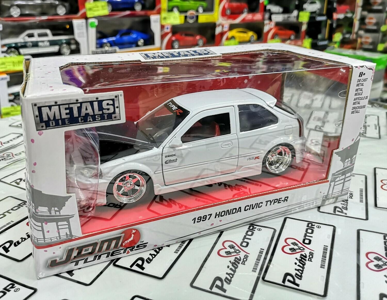 1:24 Honda Civic Type R 1997 Blanco Jada Toys Metals JDM Tuners Con Caja