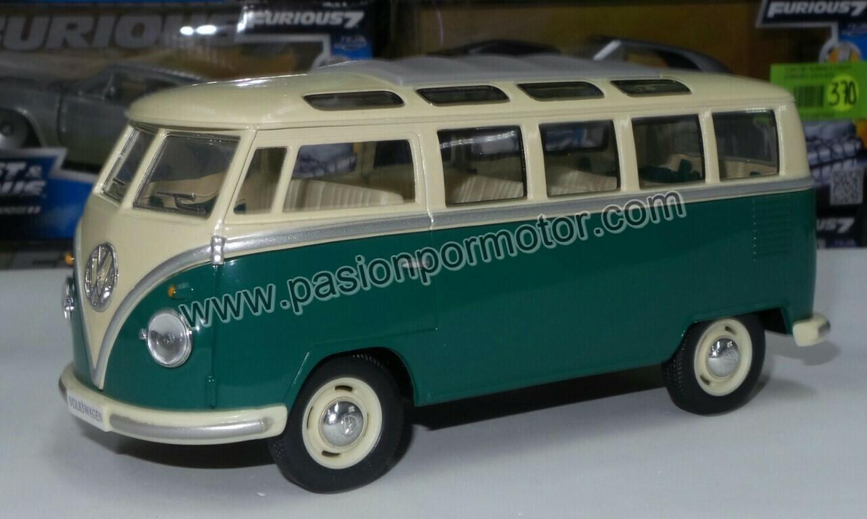 1:24 Volkswagen Combi Classical Bus 1962 Verde C Beige Kinsmart En Display / A Granel