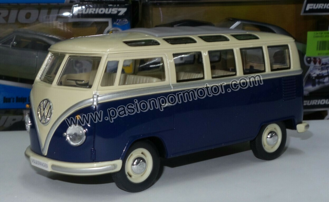 1:24 Volkswagen Combi Classical Bus 1962 Azul C Beige Kinsmart En Display / A Granel