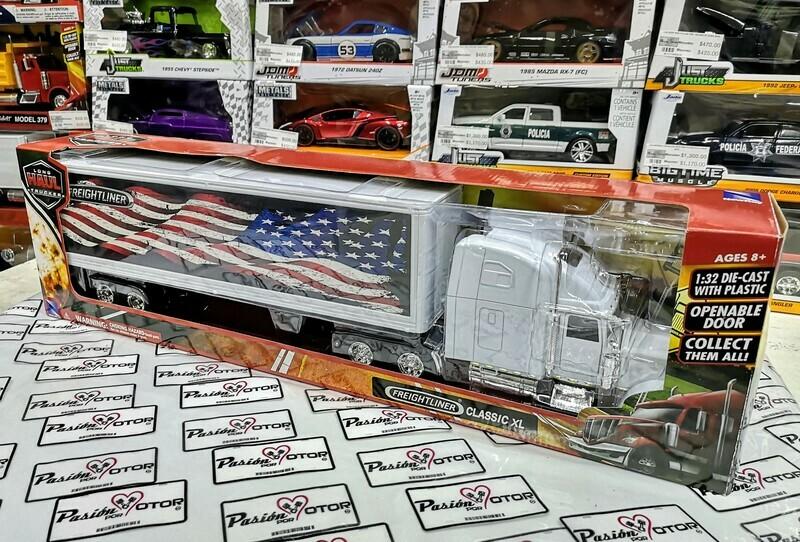 1:32 Freightliner Classic XL  Blanco C Trailer Caja Seca c Gráficos U.S.A. New Ray